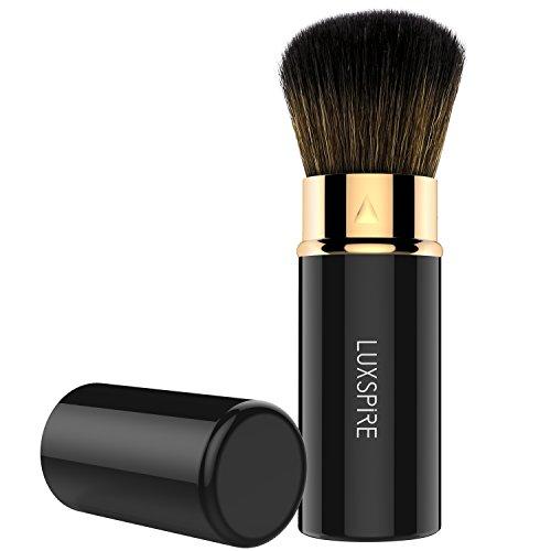 Luxspire Makeup Puderpinsel, Einziehbarer Kabuki Bürste Rund Weich Schminkpinsel Gesichtpinsel Mineral Puder Foundation Rouge Bürste Kosmetik Werkzeug, Schwarz & Rose Golden