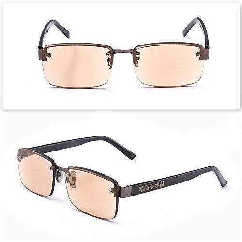 KOMNY East China Sea Kristall Flache Lesebrille Anti-Strahlung kein Grad Alter Mann Brille Stein Spiegel Sonnenbrille braun, A + 100