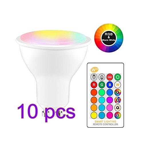 Winbang LED Birnen, 8W RGBW Glühbirnen Farbwechsel LED Lampe Blitz Strobe Bar KTV dekorative Lichter W28 GU10 (10pcs Warmweiß) (Licht Bars Strobe)