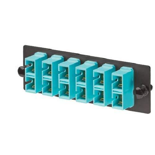 6 Port Panel (Panduit fap6waqdsc Multimode 6-port Faser Adapter Panel mit Phosphor Bronze Split Ärmel, aqua)