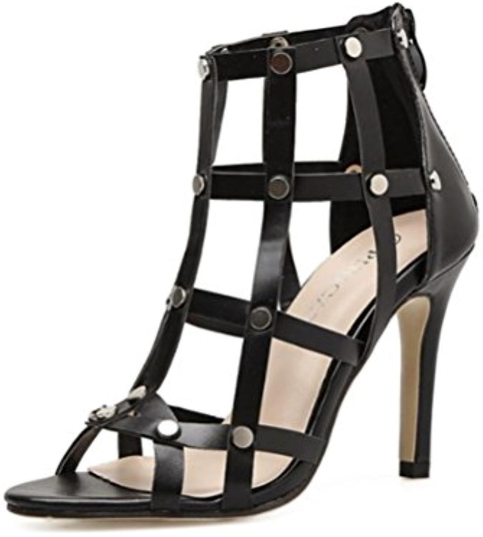 QPYC Ladies Grid Rivets Open Toe Stiletto Sandali Zipper posteriore Nightclub Walking Show Scarpe da donna Nero... | Abbiamo Vinto La Lode Da Parte Dei Clienti  | Scolaro/Ragazze Scarpa