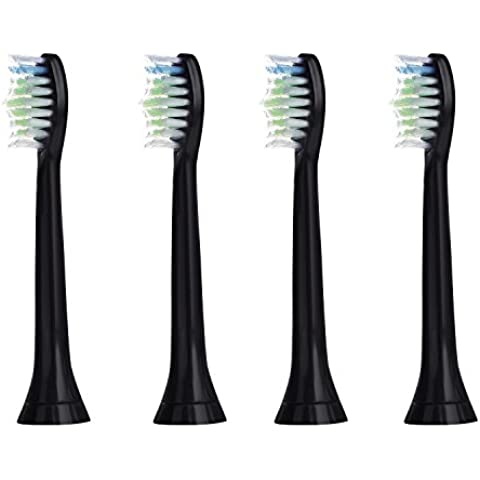 4 uds (1x4) de cabezales para cepillos de dientes E-Cron®. Philips Sonicare DiamondClean Black (Negro) recambios. Totalmente compatibles con los siguientes modelos de cepillos de dientes eléctricos Philips: DiamondClean, FlexCare, FlexCare Platinum, FlexCare(+), HealthyWhite, 2 Series, EasyClean y PowerUp.