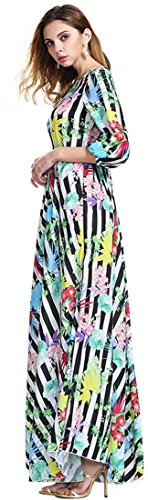Jeansian Femmes Robe Sexy Lady Fashion Cocktail Party Beach Chiffon Long Dress WHS063 Multicolore