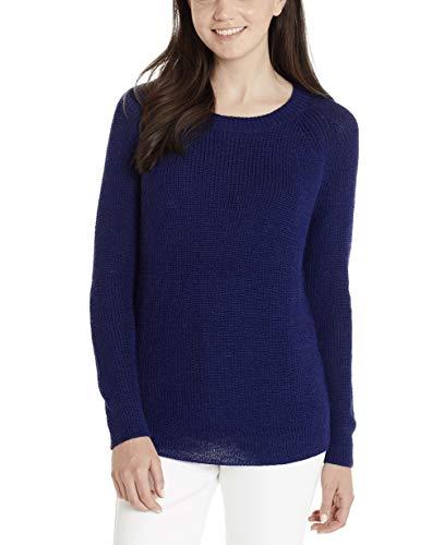 Peruanische Alpaka-pullover (Invisible World Damen 100% Baby Alpaka Pullover, kuscheliges Rundhals Sweatshirt & peruanischer Pulli, Blau - Größe)