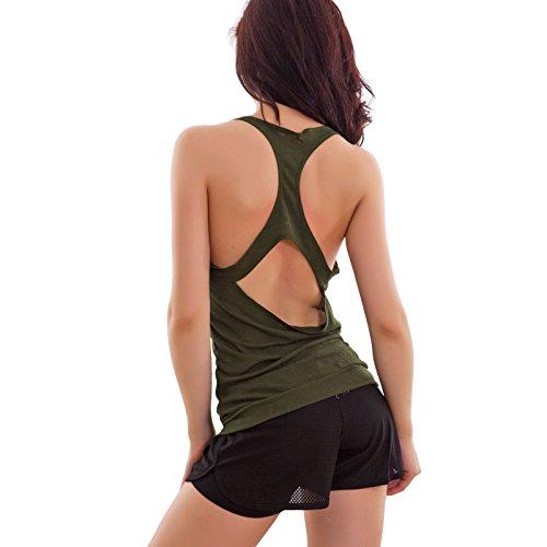 Toocool - Top donna canottiera canotta maglietta schiena nuda fitness sexy nuova F9504 Verde