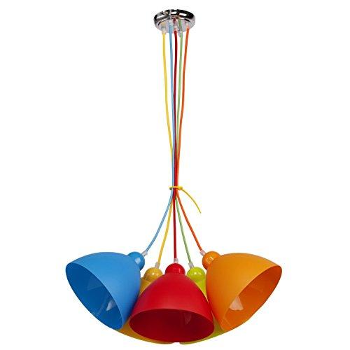 Lampada sospensione multicolore in metallo ed acrilico ecologico moderna in cameretta per bambini 5 * 40w e27-escl