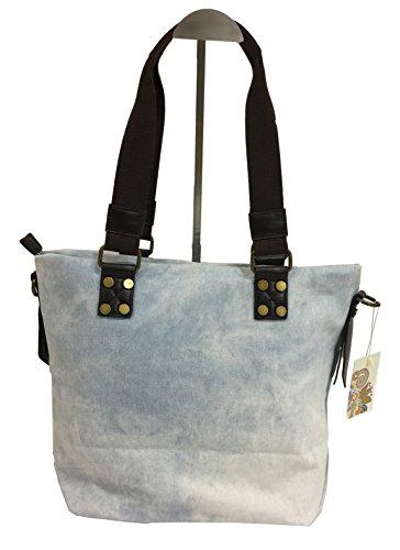 fashion&DU Jeansblau PATCHES STERN Handtasche Schultertasche bag Umhängetasche Shopper H. Jeansblau