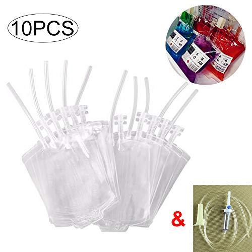 (Ouken 10pcs Halloween Blutbeutel Spielzeug Getränkeverpackungen Getränke Taschen für Halloween Cosplay Partei (Blut-Beutel-Klipp-Aufkleber und Infusionsschlauch))