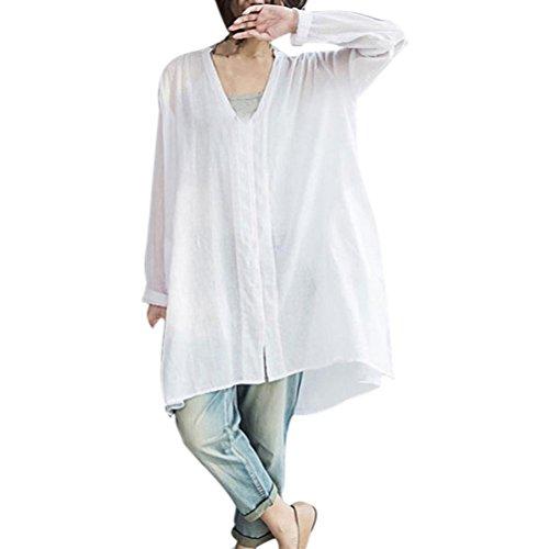 Internet_8810 Langarmshirt Damen Große GrÃßen Elegante Baumwolle V-Ausschnitt Hemd Oberteile T-Shirt Kleid Langarm Kleider Casual...