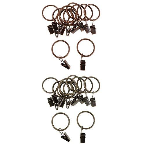 Fenteer 24 Stück Runde Metall Gardinenringe Vorhang Ringe Gardine Ringe mit Clip Vorhangringe 25 mm