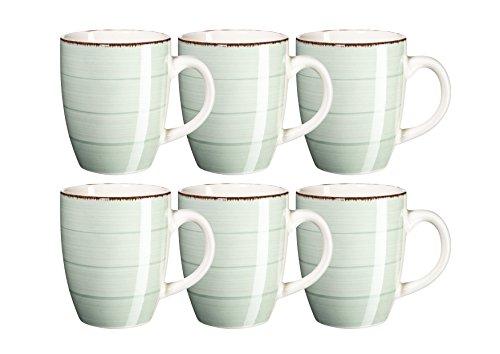 MÄSER, Serie Bel Tempo, Kaffeebecher 39 cl, Keramik Geschirr im 6er-Set, in der Farbe Hellgrün