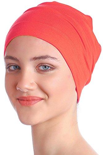 Deresina Headwear Schlafmütze Aus Baumwolle für Krebs, Haarverlust (Coral Rosa)