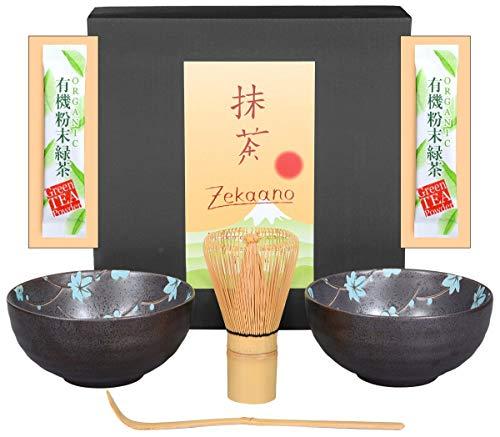 Matcha-Set 4-teilig, Bestehend aus 2 Matchaschalen anthrazit/blau mit Blütendesign, Matchalöffel und Matchabesen in Eleganter Geschenkbox. Original Aricola®