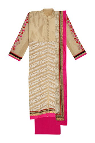 Ethnic Story Women's Kota Semi-stiched Salwar Suit (Cream and Pink)