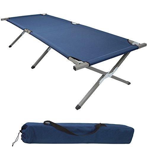 BB Sport Feldbett XXL 200 x 70 x 52 cm stabiles Campingbett mit Stahlrohr verstärkt bis 150 kg belastbar, Farbe:blau