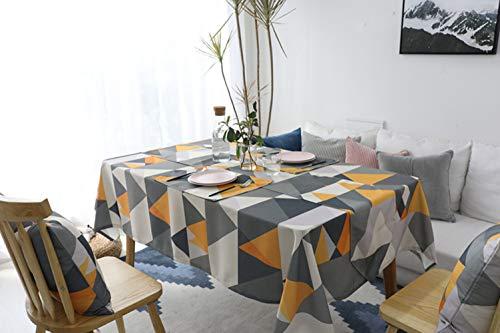 DOTBUY Rechteckige Tischdecke, Geometrie Tischdecke Europäischer Stil Rechteckig Abwaschbar Polyester Baumwolle Tischdecke Pflegeleicht Garten (140*160, Gelb)