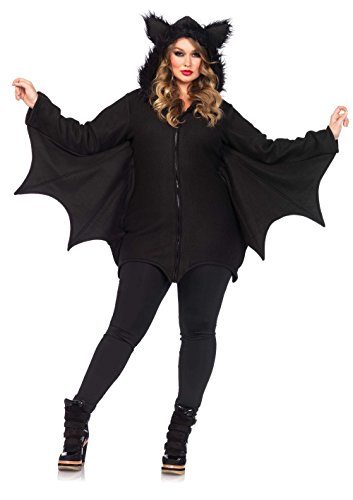 Halloween Für 4x Kostüme (Leg Avenue 85311X - Cozy Bat Damenkostüm Schwarz Karneval Kostüm Fasching Halloween, 3XL/4XL (EUR)