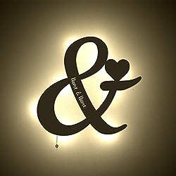 einstückchenliebe Personalisiertes Nachtlicht Schlummerlicht &-Zeichen mit Namen Verlobung Liebesbeweis Valentinstag Hochzeitstag Deko-Lampe Motiv Persönlich Handarbeit Geschenk Brautpaar
