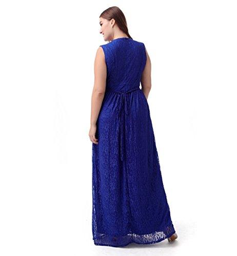 Chez BoBos Femme Robe de Soirée Lace Vol Rond Sans Manches Grande Taille Longue Bleu