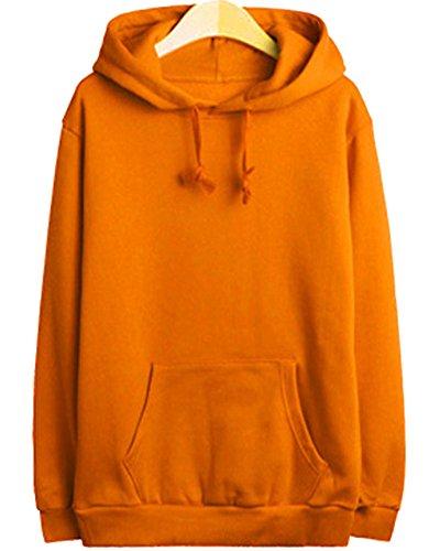 Casuale Uomo Maniche Lunghe Felpe T-shirts Felpa Con Cappuccio Orange
