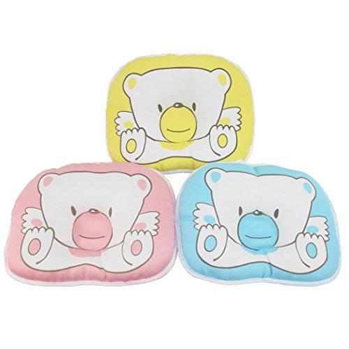 Dianoo 3PCS Neugeborenen Baby Kissen, Anti-roll Bär Kissen, Wohnung Kopf Schlafen Stellungsregler, 3PCS (drei farbe: Gelb, Rosa und blau)