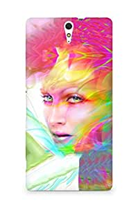 Amez designer printed 3d premium high quality back case cover for Sony Xperia C5 (Digital art face girl multicolored)
