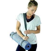 Sundried Alfombrilla de yoga antideslizante, gruesa, tamaño grande, de yute, con correa para transportar.