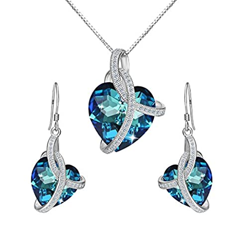 Clearine Women's 925 Sterling Silver Wedding Bridal CZ Infinity Love Heart of Ocean Inspired Pendant Necklace Hook Dangle Earrings Set Adorned with Swarovski Crystals Bermuda Blue