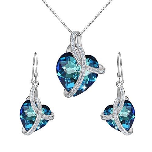 Clearine Damen 925 Sterling Silber CZ Unendlichkeit Love Herz von der See Kette Ohrringe Schmuck Set Kristall von Swarovski Bermuda Blau