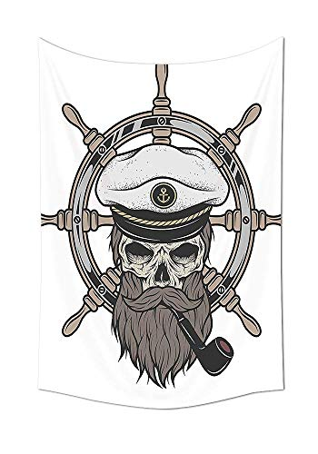413a5fa6fad daawqee Skulls Decorations Collection Captain Pirate Skull in Sailor Hat  with Beard and Pipe Nautical Theme