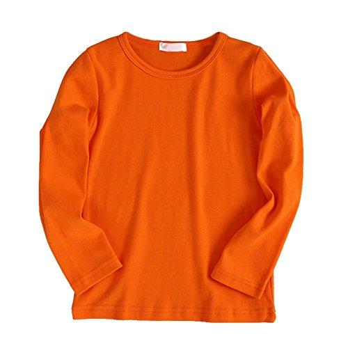 Brightup Frühling und Herbst Kinderkleidung Jungen und Mädchen Base Shirt Baumwolle T-Shirt Kinder Langarmshirts Base-orange-fleece