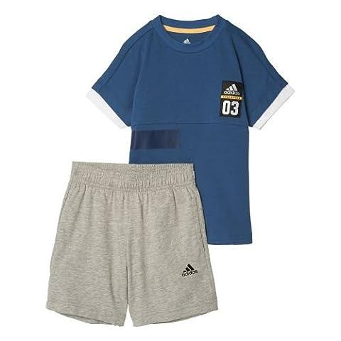 adidas Kinder LB ID Sum Set Trainingsanzug, Blau (Azubas/Blanco/Dorsol), 122