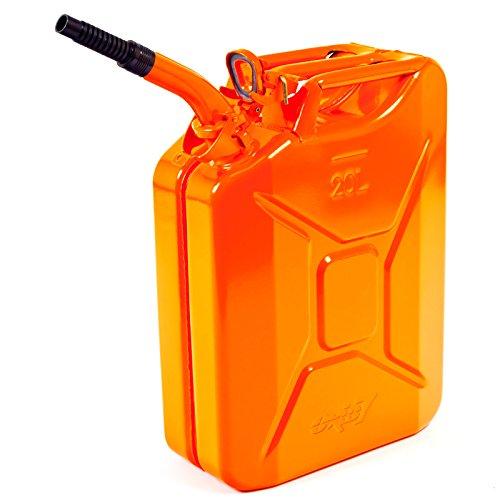 Oxid7® Benzinkanister Kraftstoffkanister Metall 20 Liter Orange inkl. Ausgießer mit UN-Zulassung - TÜV Rheinland Zertifiziert - Bauart geprüft - für Benzin und Diesel