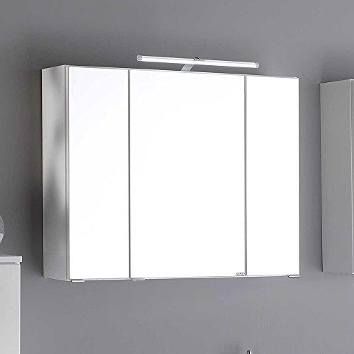 #Bad Spiegelschrank in Weiß 3D Effekt Breite 80 cm Pharao24#