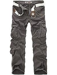 Ghope Homme Pantalon Cargo Multipoches Vintage Style Militaire Loose Combat Pantalons Casual Pants (SANS CEINTURE)