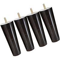 Sharplace 4pcs Patas de Muebles Sillas Sofá Tabla Mesa Madera Forma de Cono - Negro, 4 * 6 * 15cm