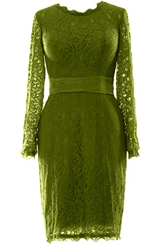 MACloth - Robe - Trapèze - Manches Longues - Femme vert olive