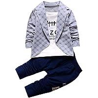 Amlaiworld Niño bebé niños camisas de caballero Tops + pantalones largos 2pcs ropa conjunto (1-2 Años, Gris)