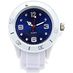 AccessoriesBySej 24 Colours - SMALL WHITE/DARK BLUE 33mm CHILDREN'S KIDS GIRLS BOYS LADIES WOMENS SMALL 33mm QUARTZ SILICON /RUBBER STYLE JELLY SPORT WRIST WATCHES UNISEX DATE