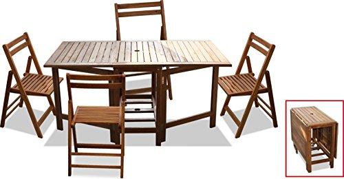 Tavolo Da Giardino Con 4 Sedie.Tavolo Da Giardino In Legno 150x90x74 Pieghevole Porta Sedie Con 4