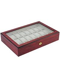 Traum Woolux Uhrenbox aus Holz für 24 Uhren Farbe Kirsche matt mit sehr schöner Maserung ist diese Vitrine Uhrenschatulle