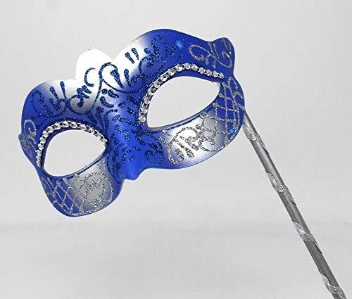 Damen Blau und Silber Kristall Jeweled Venezianischen Masquerade Partei Karneval Maske auf Einen Stock