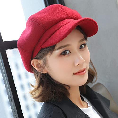 er Hüte Für Frauen Solide Plain Achteckige Newsboy Cap Männer Damen Casual Wollmütze Winter Barett Frauen Maler Cap,Red ()