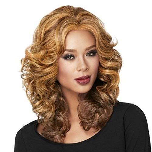 YANXS 70er Jahre Flick Perücke Mode Lockiges Haar Farbmischung Hitzebeständige Kunstfaser Ombre Perücken für Frauen Täglichen Gebrauch 22 - Vorteile Karte Kostüm