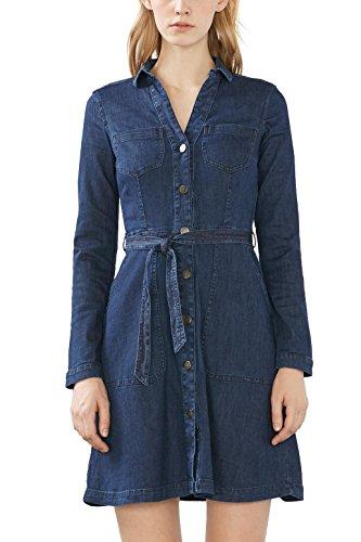 edc by ESPRIT Damen Kleid 116CC1E032, Blau (Blue Dark Wash 901), 34 (Herstellergröße: XS)