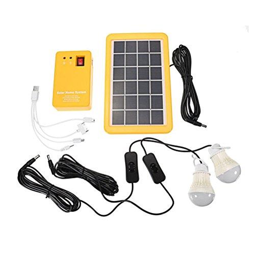 LEDMOMO Solar Beleuchtung System Outdoor Tragbares Solar Home System Kit mit Solarpanel, Power Generator LED Glühlampen, USB-Ladegerät für Indoor Outdoor Camping Garage Not