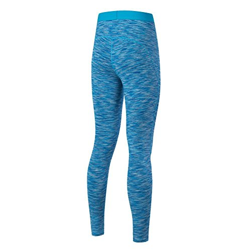 ESHOO Femmes Leggings de Sport Gym Yoga Workout Compression Running Pants Fitness Elastiques Bleu