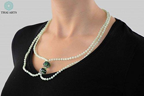"""Halskette """"Ko Nu"""", Kette für Frauen (Glasperlenkette aus Handarbeit), exklusiver Schmuck mit Perlen für Frauen mit Stil. Handgefertigte Perlenkette aus Thailand"""