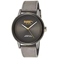 Puma Unisex-Adult Quartz Watch, Analog Display and Leather Strap PU104101008