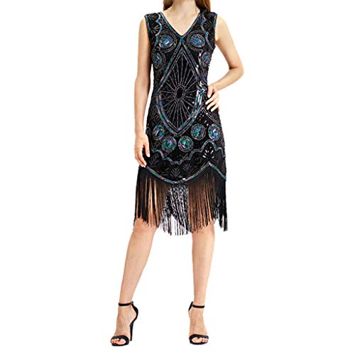 Damen 1920er Gatsby Art Deco Pailletten Cocktail Charleston Flapper Ärmel Kleid Kostüm Kleid Piebo Frauen Rockabilly Kleider Cocktailkleid Strandkleider Bodycon Kleid Partykleider -